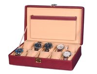 Hard Craft Watch Box Case PU Leather Maroon Dotted Design for 10 Watch Slots