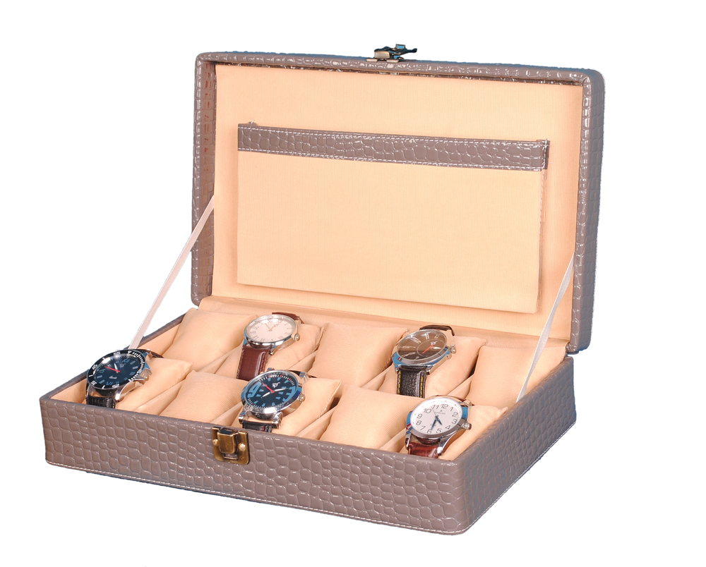 Hard Craft Watch Box Case PU Leather Grey Croco for 10 Watch Slots
