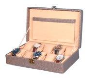 Hard Craft Watch Box Case PU Leather Grey Croco for 10 Watch Slots