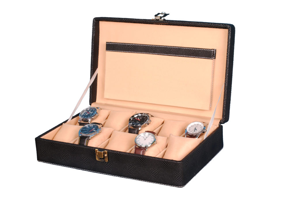 Hard Craft Watch Box Case PU Leather Black Dotted Design for 10 Watch Slots