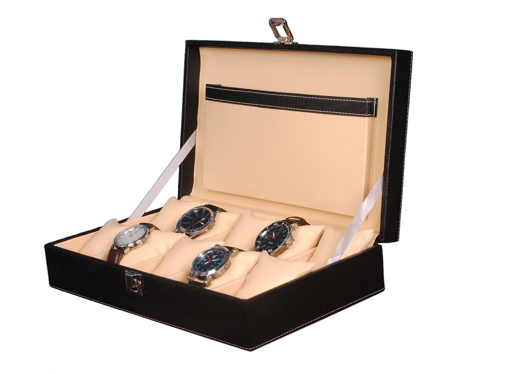 Hard Craft 10 Watch Slots PU Leather Watch Box(Black-Cream)