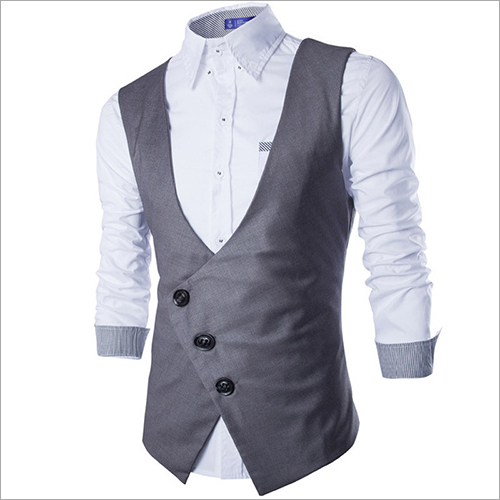 Inclined Breasted Black Gray Waistcoat