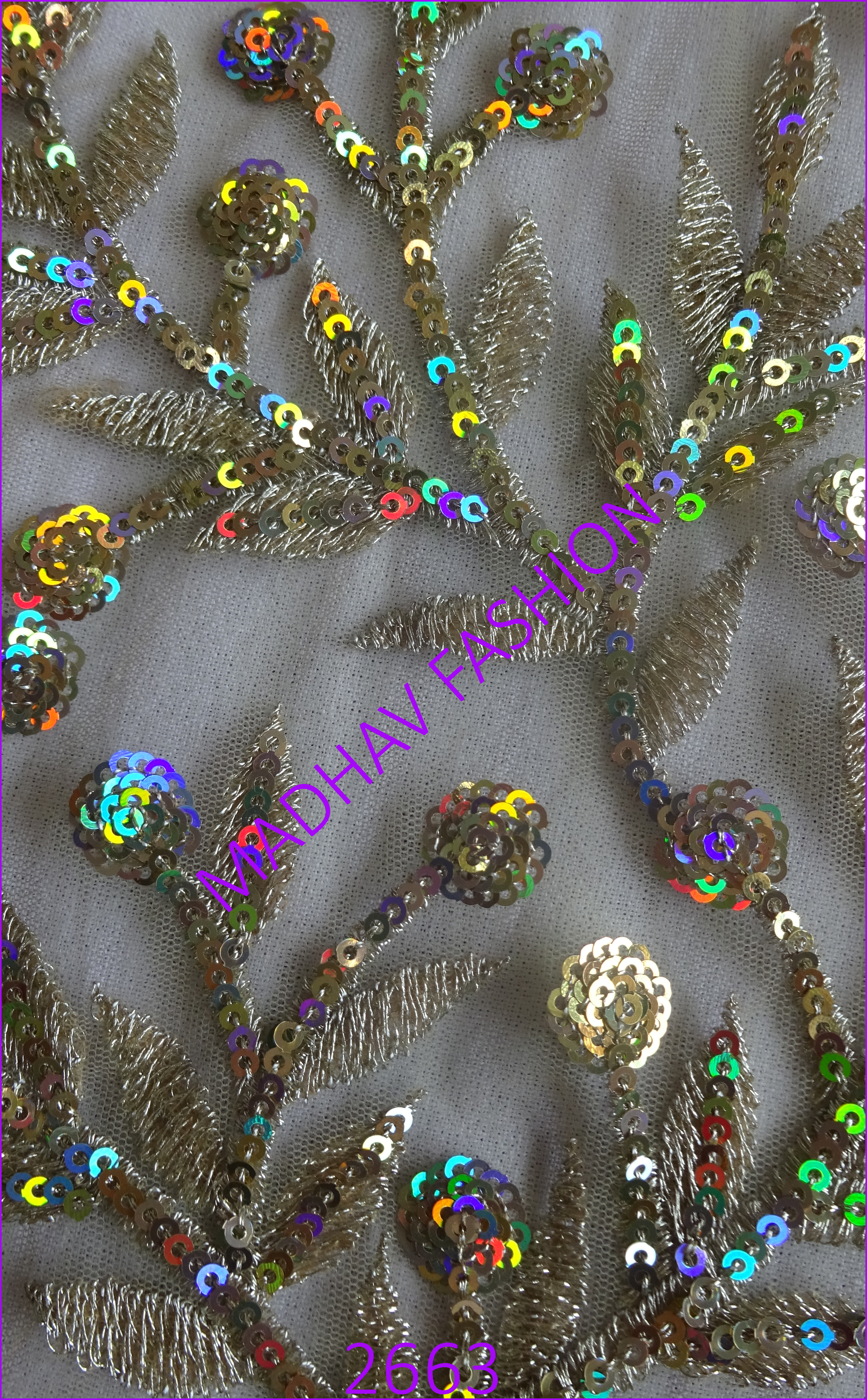 Three Color With Jari Sequin Embroidery
