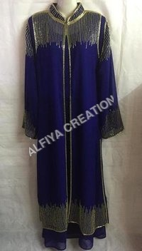 Gold Beaded Fancy Wedding Wear Farasha Long Kaftan