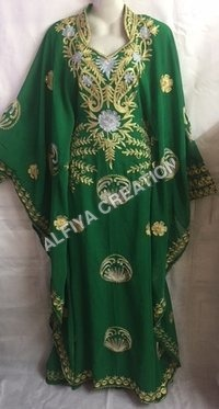 Maghribi Embroidered Emerald Green Kaftan Farasha