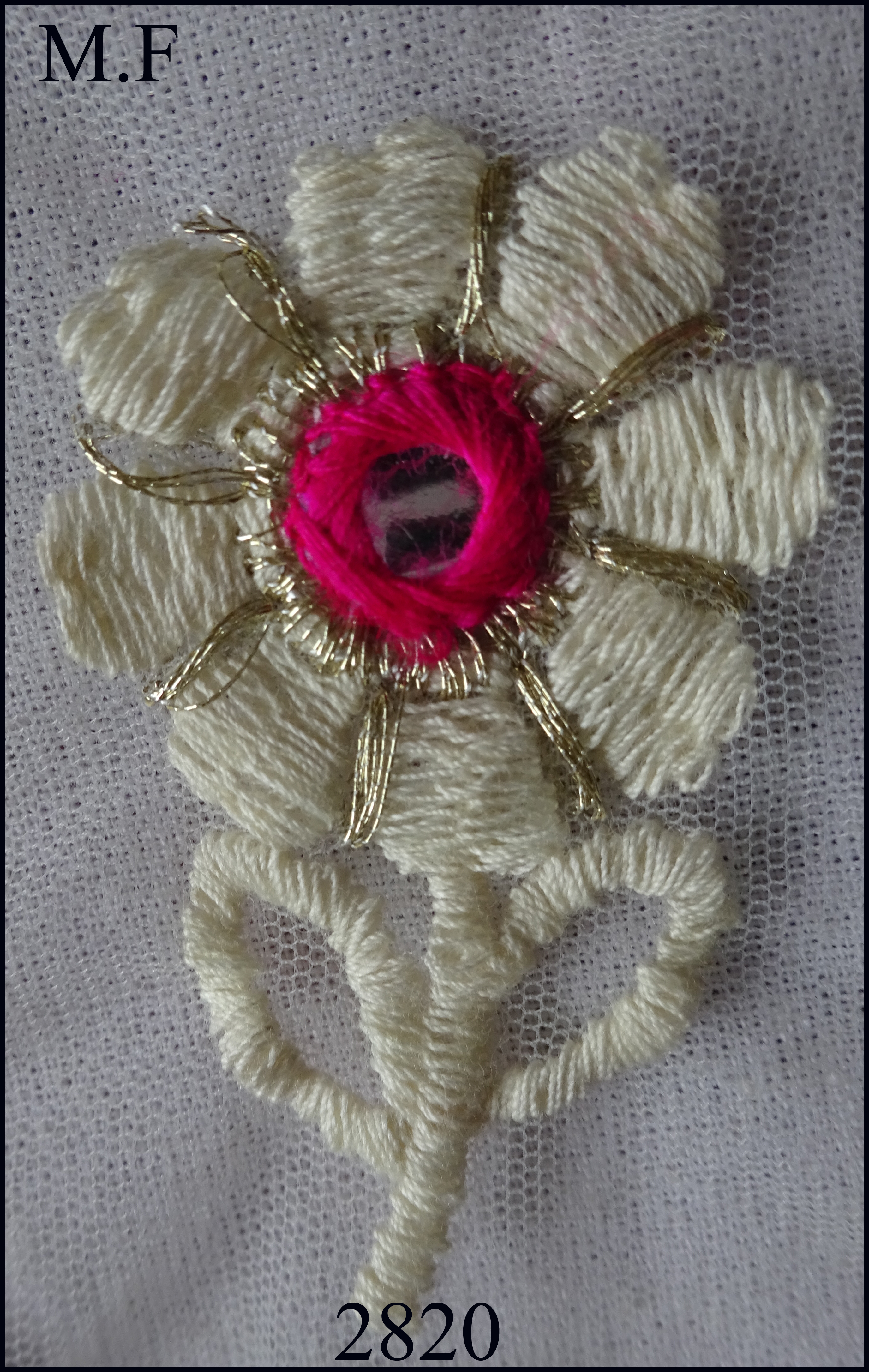 Embroidery thread work with mirror butta