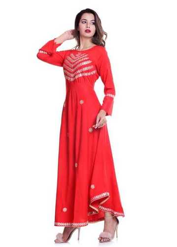 KURTISLadies Round Neck With Embroidery Fancy Kurtis