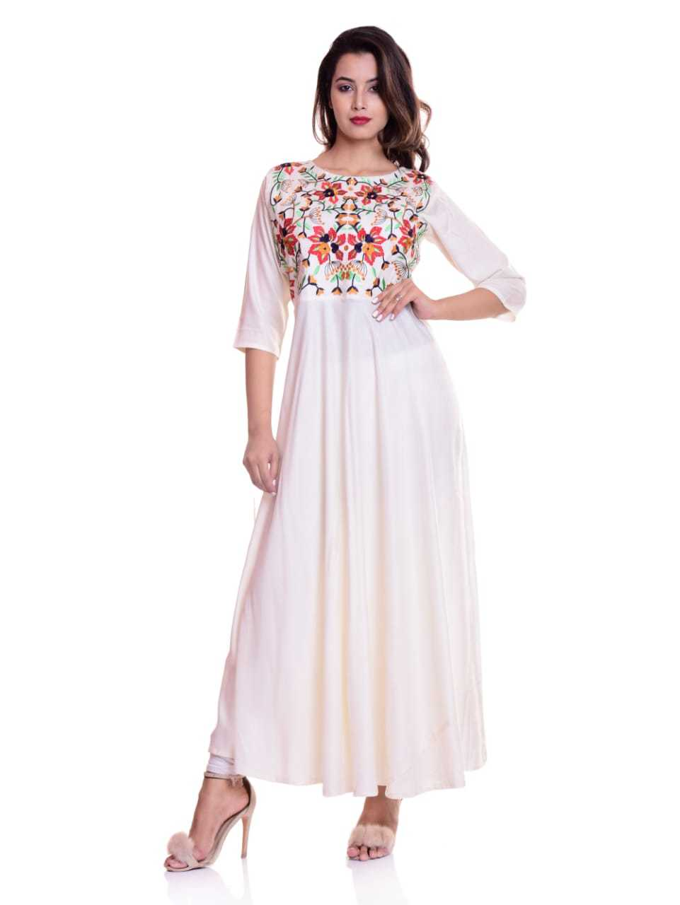 Ladies Round Neck With Embroidery Fancy Kurtis