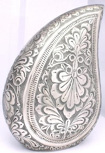 Black & Silver Teardrop Urn