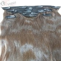 Clip Human Virgin Cuticle Aligned Indian Hair Extensions