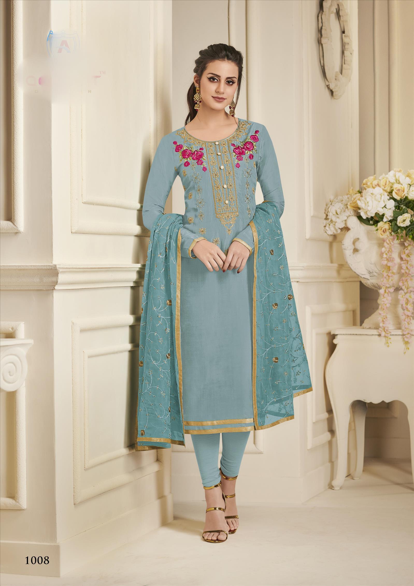 Designer Partywear Pure Upada Silk Straight Salwar Suit