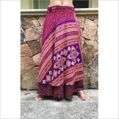 Silk wrap round skirt