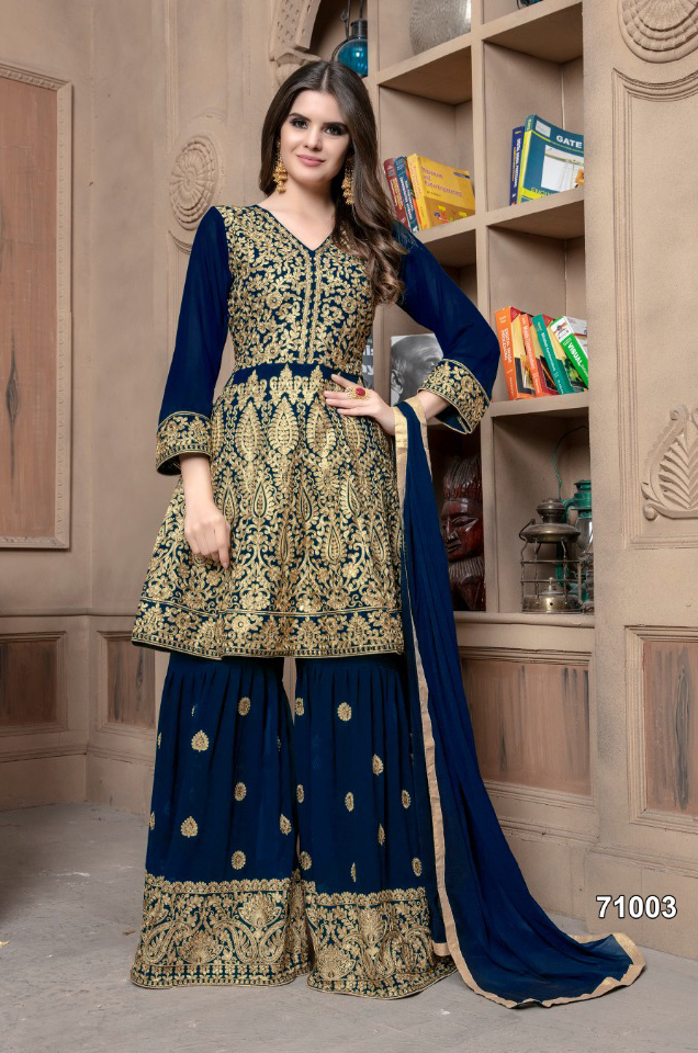 Heavy Embroidered Weddingwear Georgette Sharara Suit