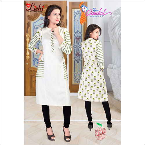 Ladies Round Neck Block Print Kurtis