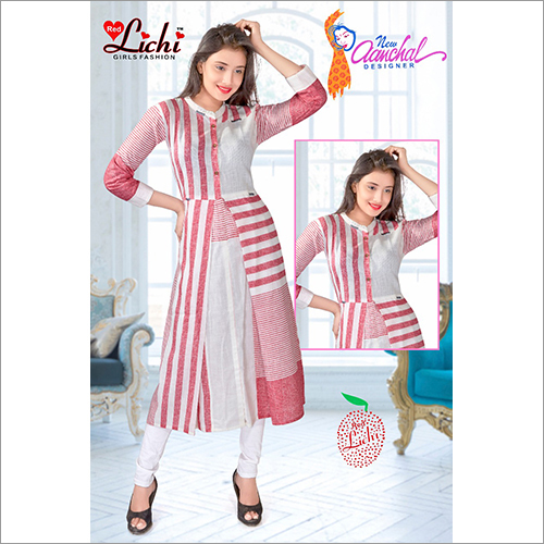 Ladies Round Neck Printed Cotton Kurtis