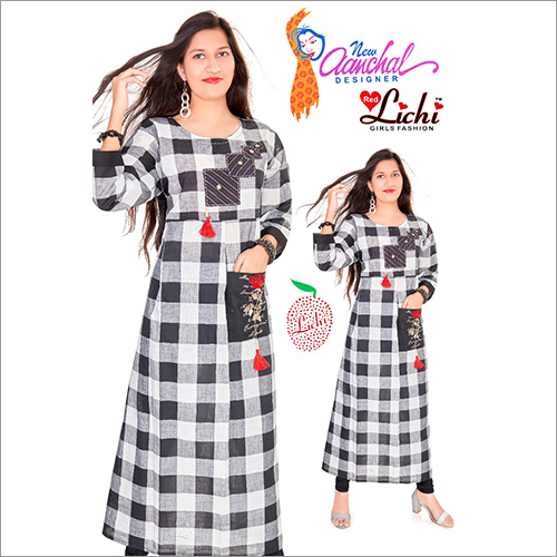 Ladies Round Neck Cotton Printed Kurtis