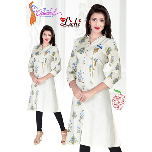 Ladies V Neck Rayon Printed Kurtis