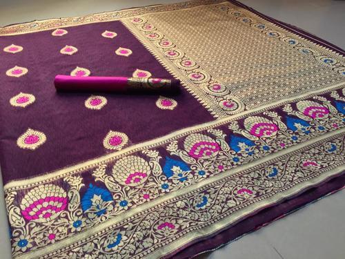 Womens Banarasi Cotton Slub Saree