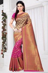 Banarasi silk weaving with zari pallu saree for womens