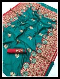 Banarasi Silk Weaving With Contrast Border And Rich Pallu Saree For Womens