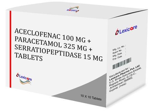 Aceclofenac and Paracetamol and serratiopeptidase Tablets