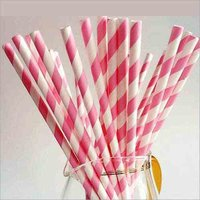 Paper Straw Pink & White Colour