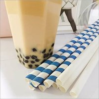 Blue and White Boba Paper Straws