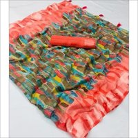 Mix Print Soft Linen Sarees