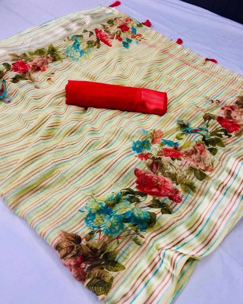 Mix Print Soft Linen Sarees