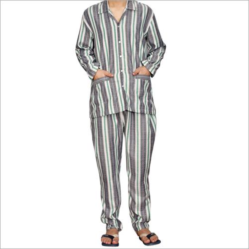 Green  Grey & White Striped Casual Sleepwear