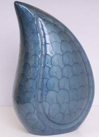 Blue Teardrop Cremation Urn