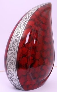 Red Clouded Teardrop Cremation Urn