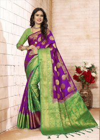 Elegent Silk Jacquard Patli Pallu Style Saree