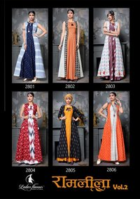 Heavy Designer Hand Work With Printed Kurtis