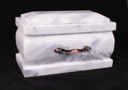 White & Grey Marble Aluminum Urn