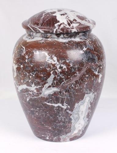 Red Zebra Marble Aluminum Urn