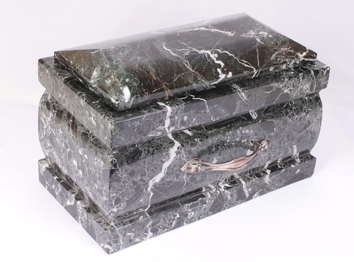 Black Zebra Marble Casket Aluminum