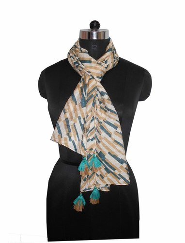 Printed Stole With Fancy Tassels