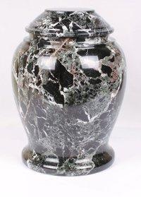 Black Zebra Marble Aluminum Urn
