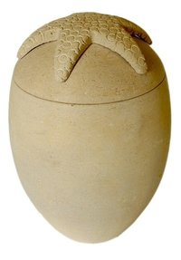 Starfish Lid Sand Stone Urn Biodegradable Urn