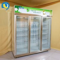 Trade Assurance promotion price vertical big capacity glass door grocery display freezer