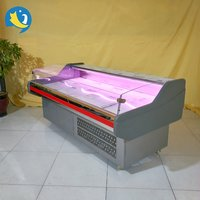 Fast delivery pork display refrigerated serve over counter open top ventilated sushi serve counter