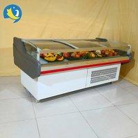 Hot sale ventilated cooling type flat glass door meat serve over refrigerator/freezer for supermarket