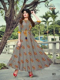 printed gown style kurti
