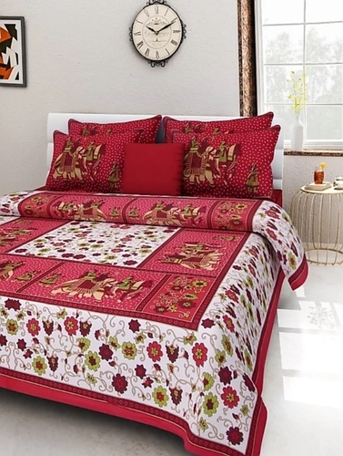 Jaipuri floral Bed Sheet