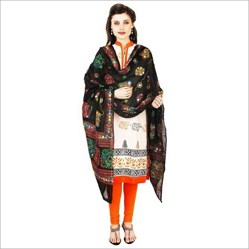 Ladies Cotton Glass Aari Work Dupatta