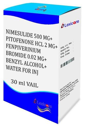 Nimesulide and Pitofenone HCL and Fenpiverinium Bromoide and Benzyl Alcohol Injection