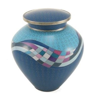 Teal Opulence Cloisonne Copper & Enamel Cremation Urn
