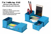 7 IN 1 TABLE TOP WITH DRAWER, TUMBLER, MOBILE STAND, U-CLIPS, WRITING SLIPS, PADS AND STICKY NOTES