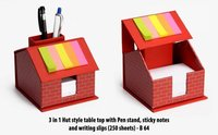 3 IN 1 HUT STYLE TABLE TOP WITH PEN STAND, STICKY NOTES AND WRITING SLIPS (250 SHEETS)